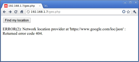 Geolocation HTML5 error