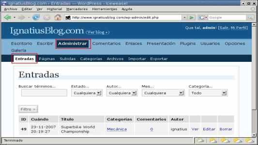 WordPress administrar entrada