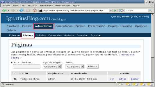 WordPress administrar pagina