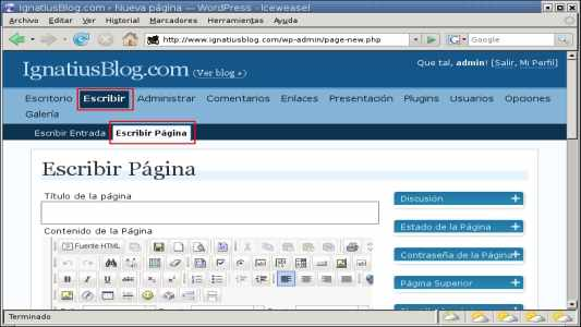 WordPress crear pagina