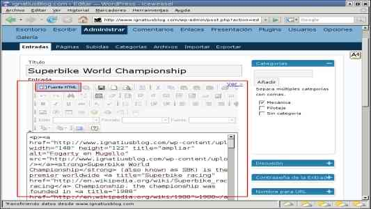 WordPress editor HTML