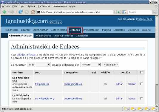 WordPress administrar enlaces